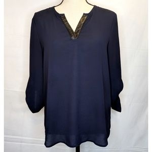41 Hawthorn Navy Blue With Black Leather Blouse Sm